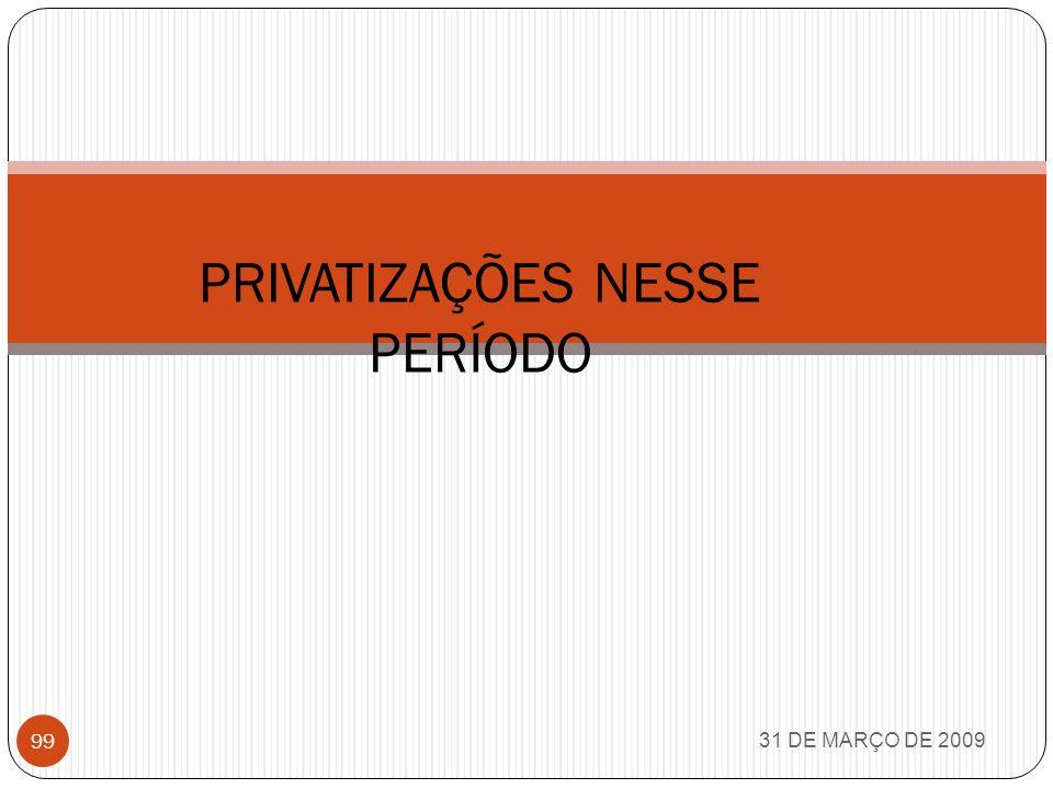 PRIVATIZAÇÕES NESSE PERÍODO