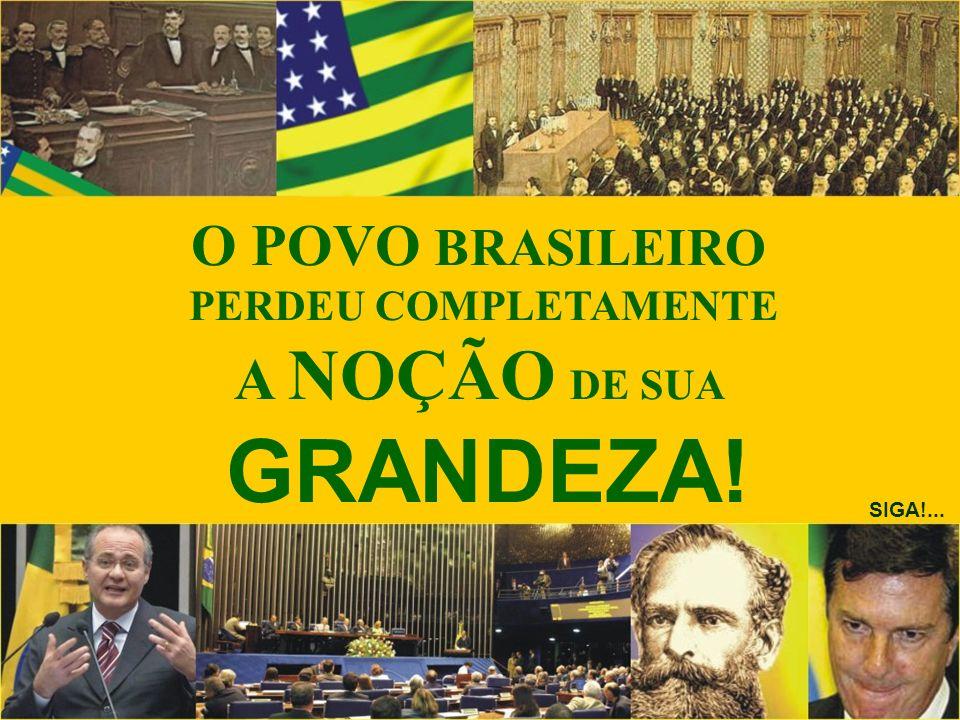 GRANDEZA! O POVO BRASILEIRO A NOÇÃO DE SUA PERDEU COMPLETAMENTE