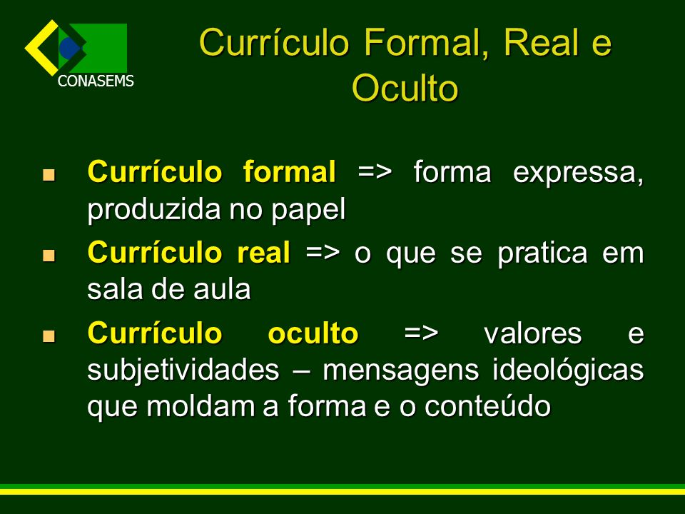 Currículo Formal, Real e Oculto