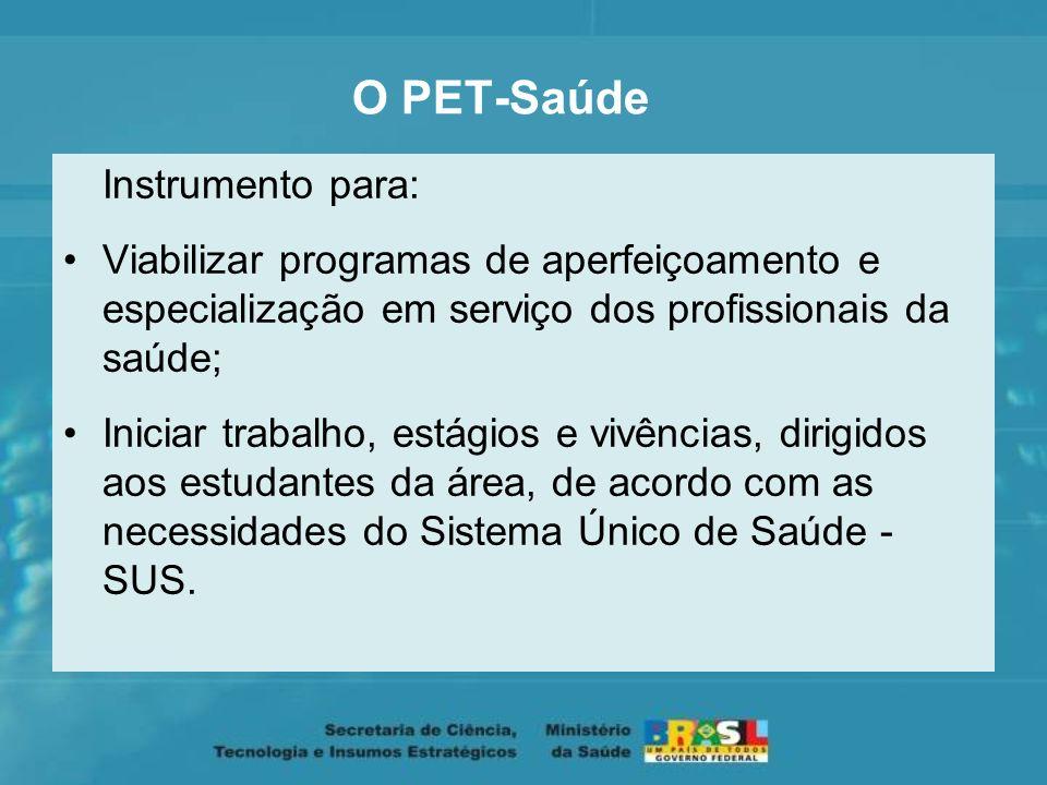 O PET-Saúde Instrumento para: