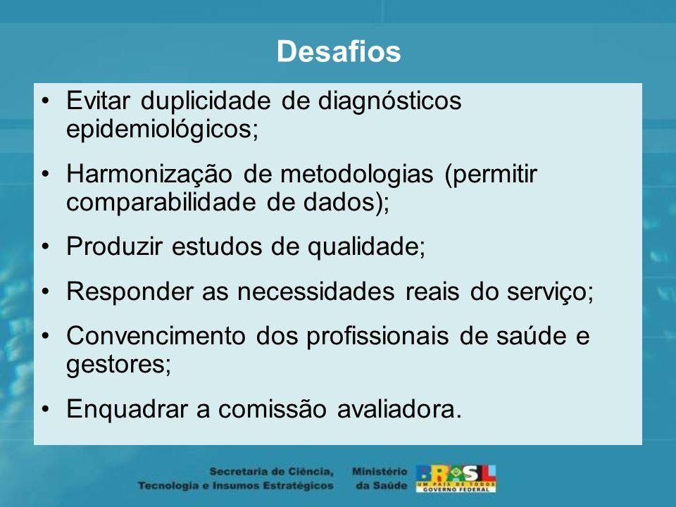 Desafios Evitar duplicidade de diagnósticos epidemiológicos;