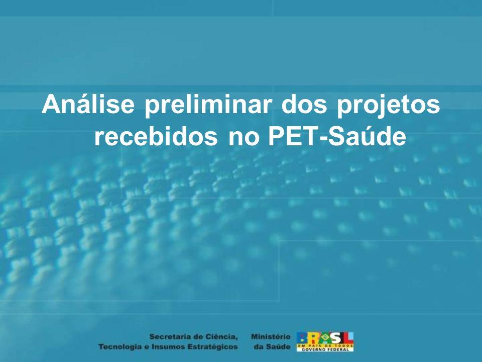 Análise preliminar dos projetos recebidos no PET-Saúde