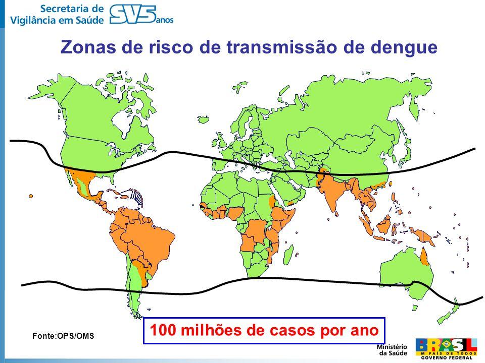 Zonas de risco de transmissão de dengue 100 milhões de casos por ano