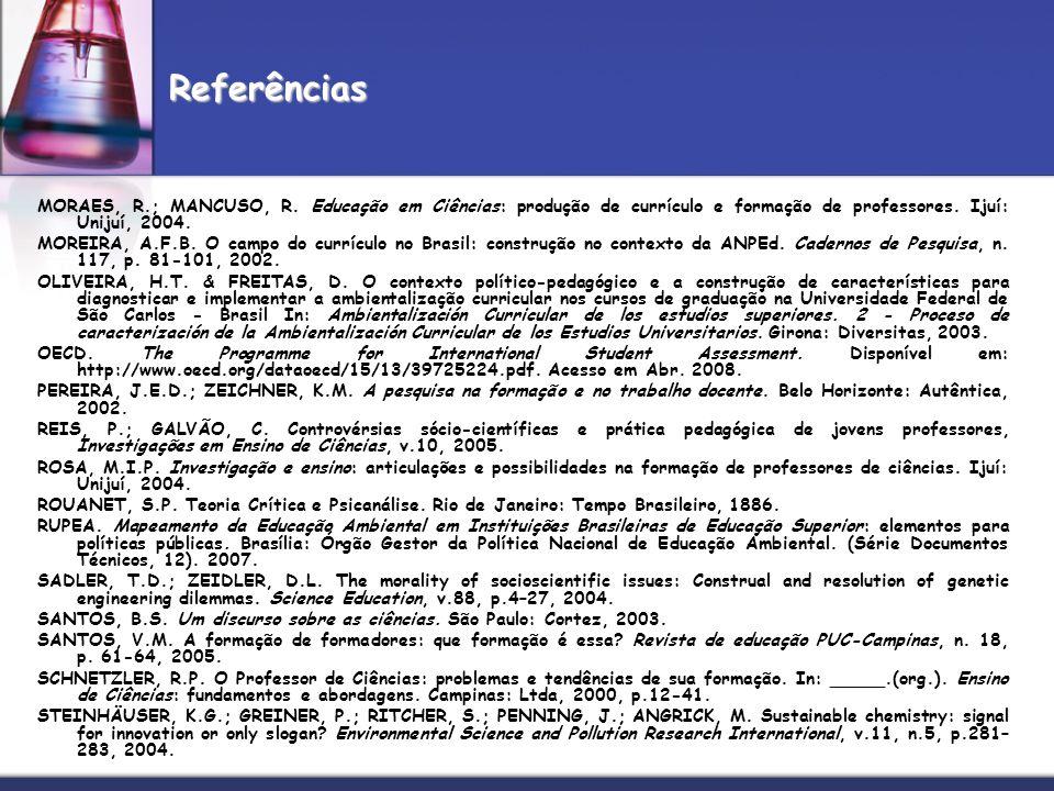 Referências MORAES, R.; MANCUSO, R. Educação em Ciências: produção de currículo e formação de professores. Ijuí: Unijuí, 2004.