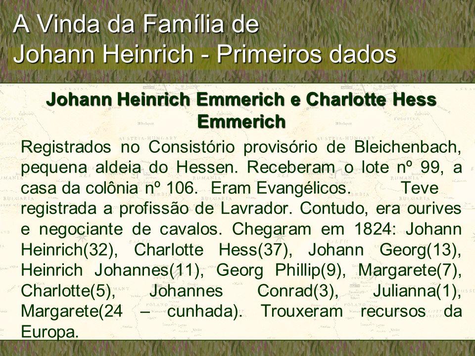 A Vinda da Família de Johann Heinrich - Primeiros dados
