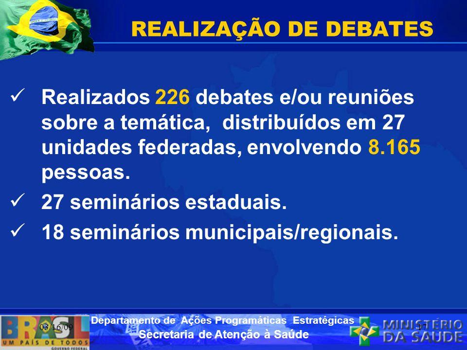 18 seminários municipais/regionais.