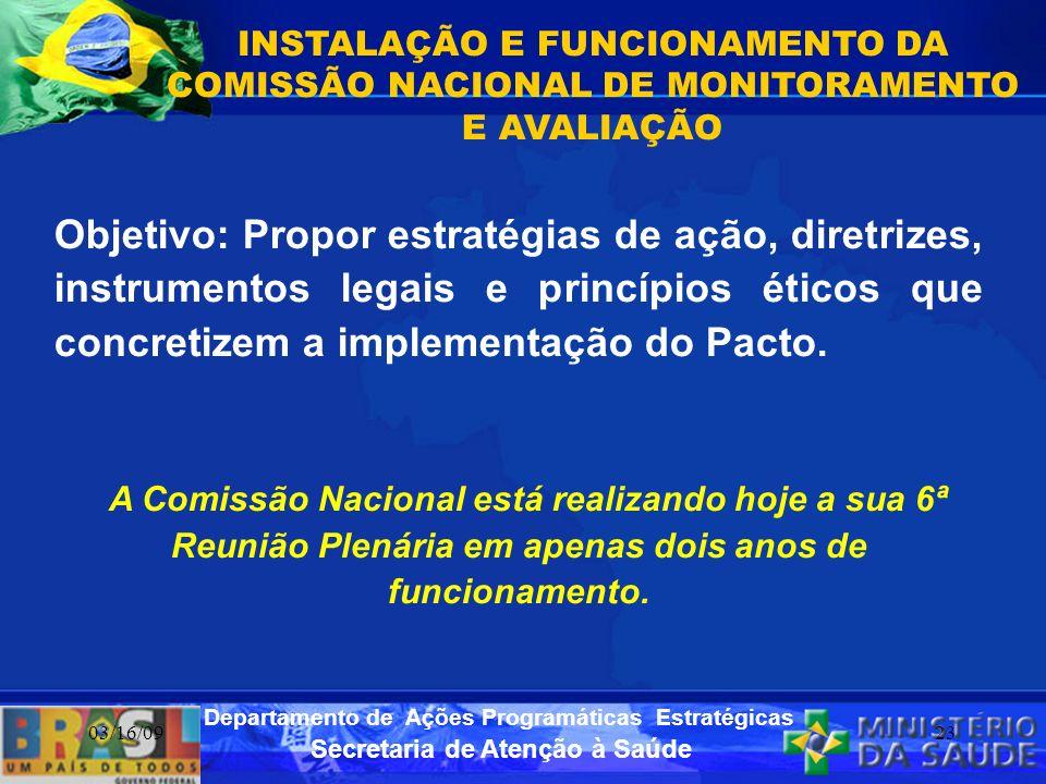 INSTALAÇÃO E FUNCIONAMENTO DA COMISSÃO NACIONAL DE MONITORAMENTO E AVALIAÇÃO