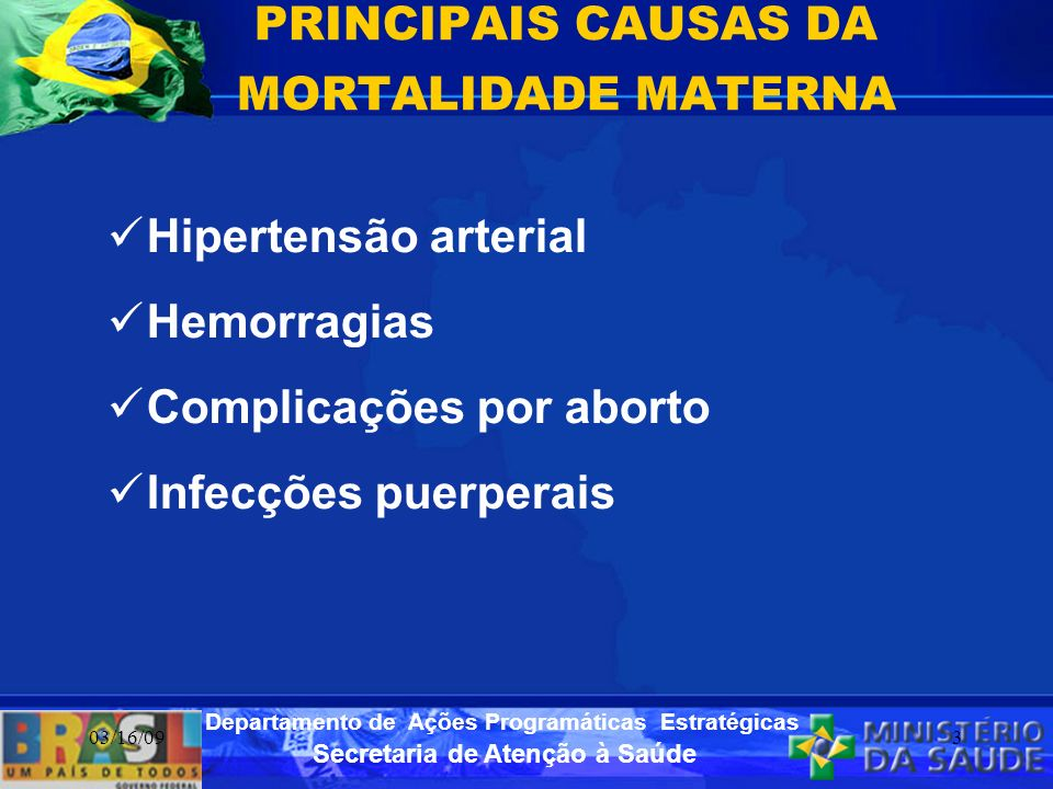 PRINCIPAIS CAUSAS DA MORTALIDADE MATERNA