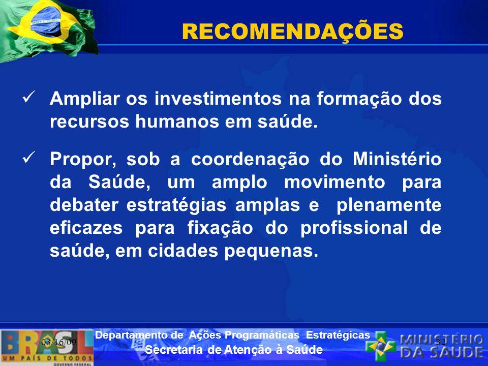 RECOMENDAÇÕES Ampliar os investimentos na formação dos recursos humanos em saúde.