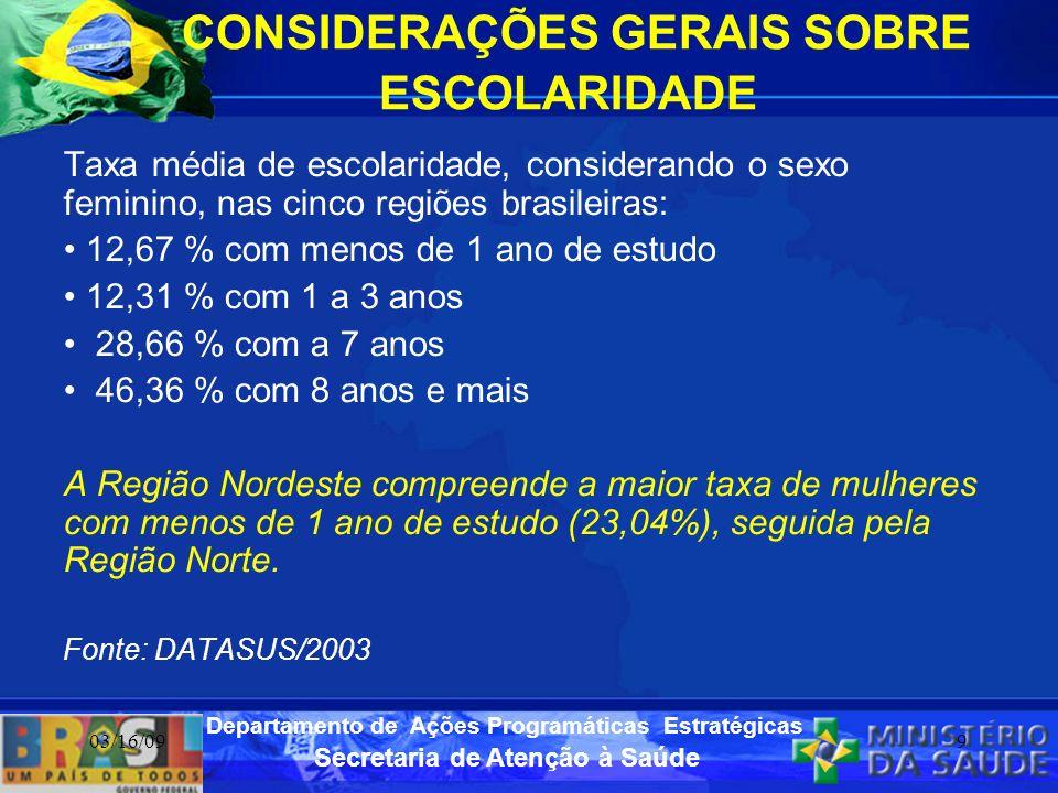 CONSIDERAÇÕES GERAIS SOBRE ESCOLARIDADE