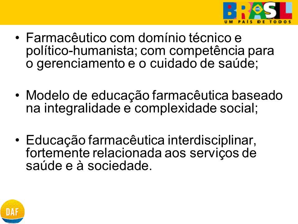 Farmacêutico com domínio técnico e político-humanista; com competência para o gerenciamento e o cuidado de saúde;