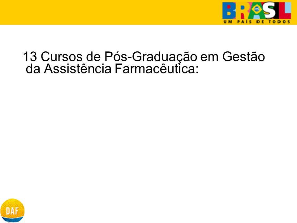 13 Cursos de Pós-Graduação em Gestão da Assistência Farmacêutica: