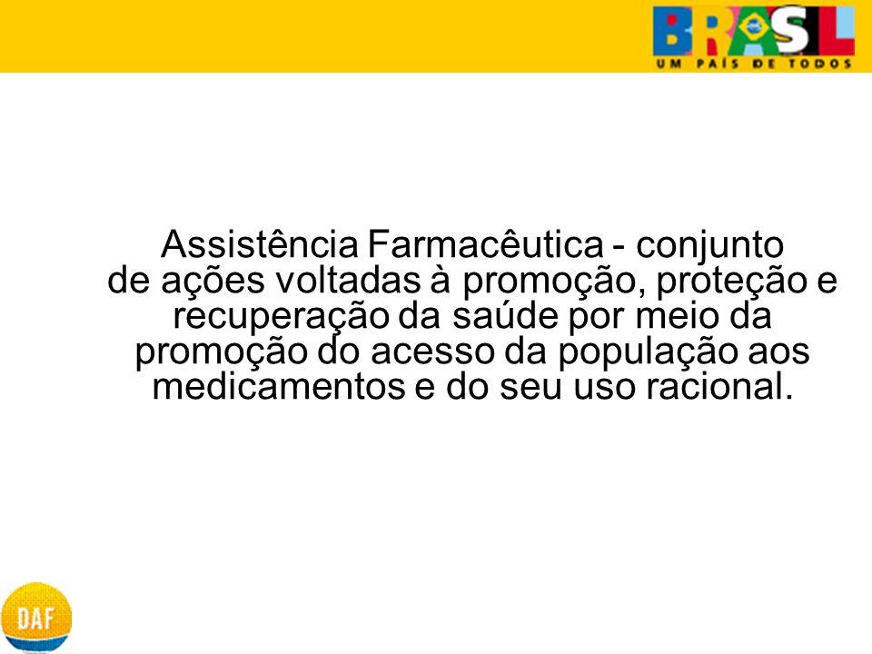 Assistência Farmacêutica - conjunto de ações voltadas à promoção, proteção e recuperação da saúde por meio da promoção do acesso da população aos medicamentos e do seu uso racional.