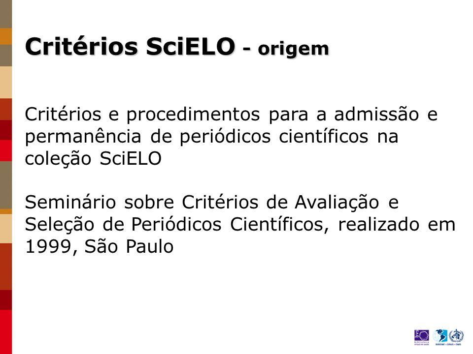 Critérios SciELO - origem