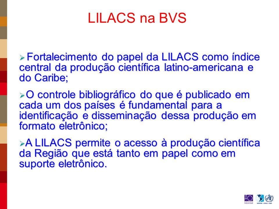 LILACS na BVS Fortalecimento do papel da LILACS como índice central da produção científica latino-americana e do Caribe;