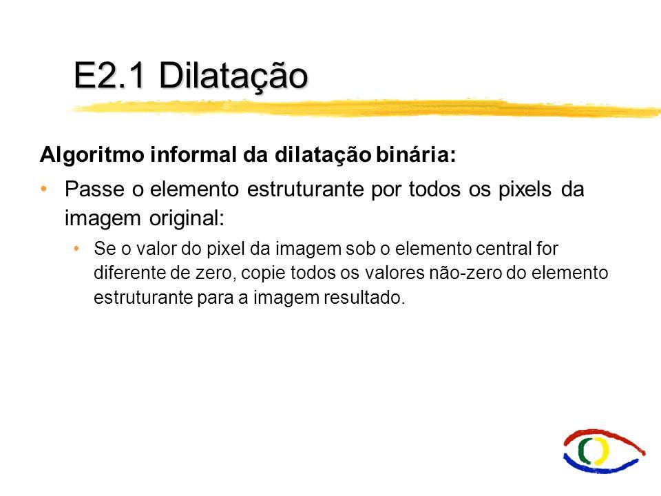 E2.1 Dilatação Algoritmo informal da dilatação binária: