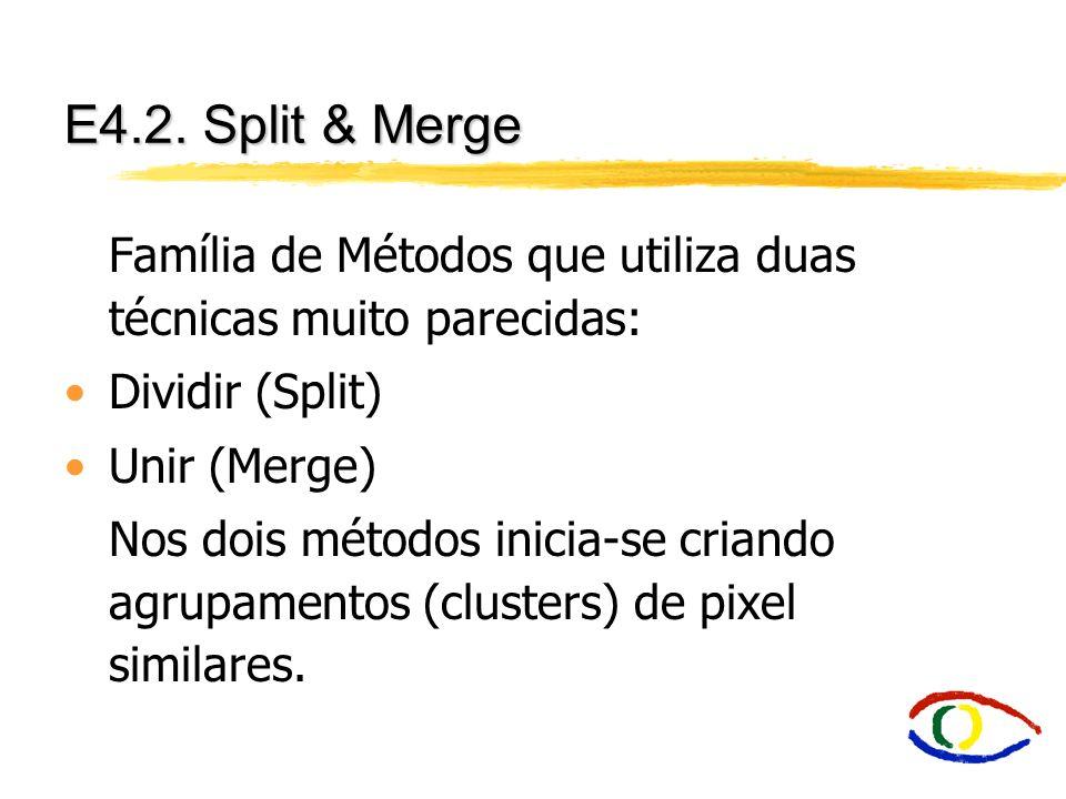 E4.2. Split & Merge Família de Métodos que utiliza duas técnicas muito parecidas: Dividir (Split) Unir (Merge)