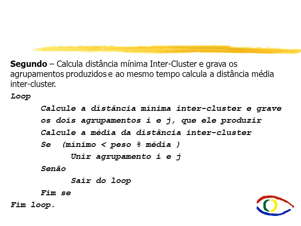 Calcule a distância mínima inter-cluster e grave