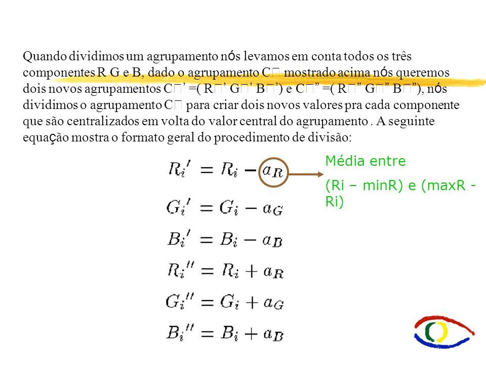 Quando dividimos um agrupamento nós levamos em conta todos os três componentes R G e B, dado o agrupamento C mostrado acima nós queremos dois novos agrupamentos C' =( R' G' B') e C =( R G B ), nós dividimos o agrupamento C para criar dois novos valores pra cada componente que são centralizados em volta do valor central do agrupamento . A seguinte equação mostra o formato geral do procedimento de divisão: