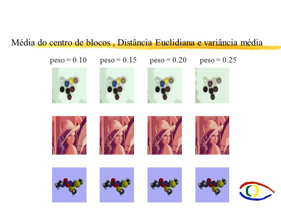 Média do centro de blocos , Distância Euclidiana e variância média