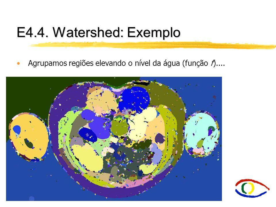 E4.4. Watershed: Exemplo Agrupamos regiões elevando o nível da água (função f)....