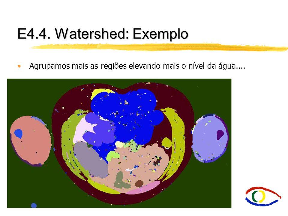 E4.4. Watershed: Exemplo Agrupamos mais as regiões elevando mais o nível da água....