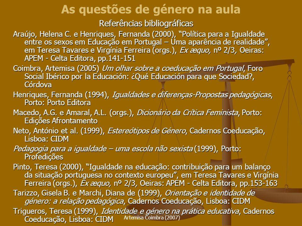 As questões de género na aula