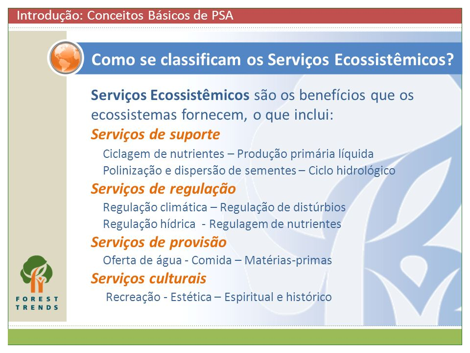 Como se classificam os Serviços Ecossistêmicos