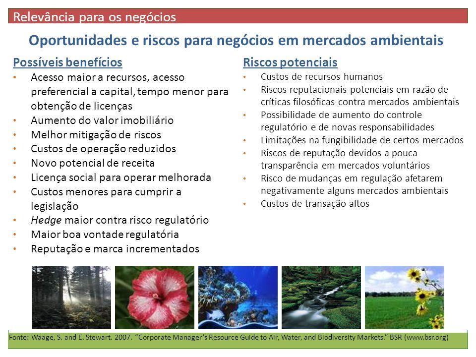 Oportunidades e riscos para negócios em mercados ambientais