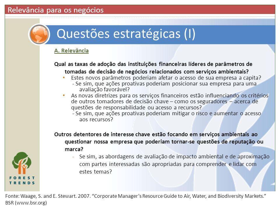 Questões estratégicas (I)