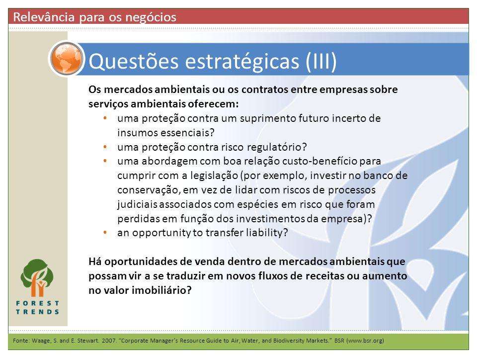 Questões estratégicas (III)
