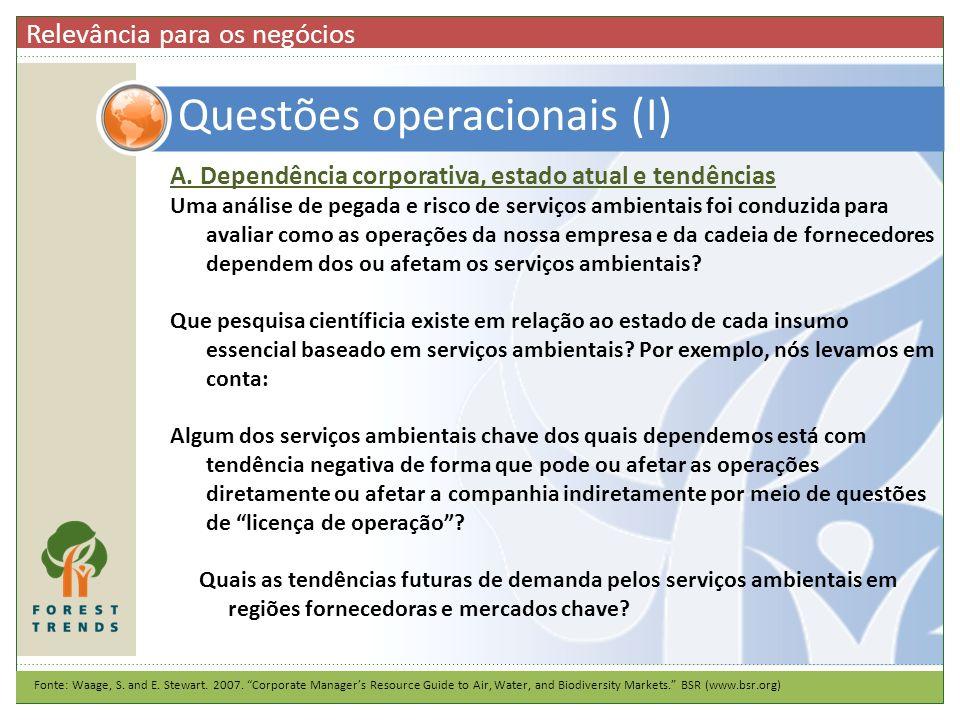 Questões operacionais (I)