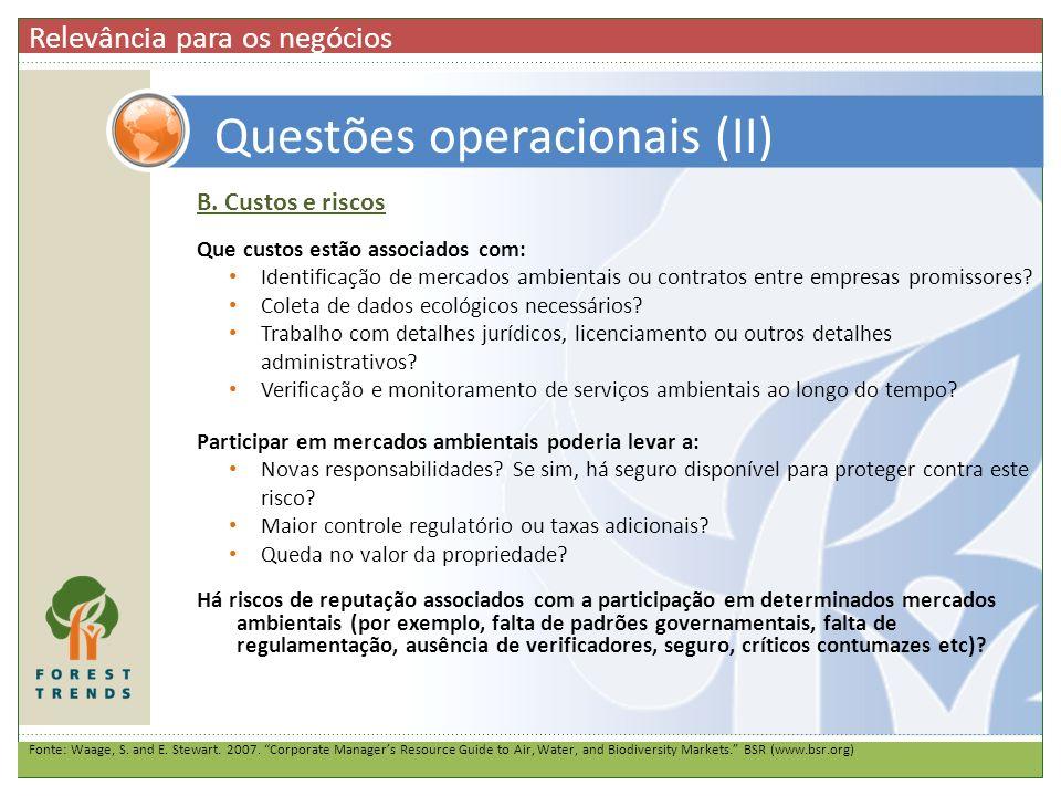 Questões operacionais (II)