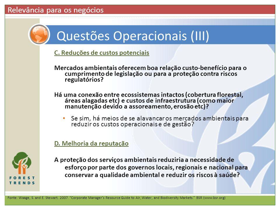 Questões Operacionais (III)