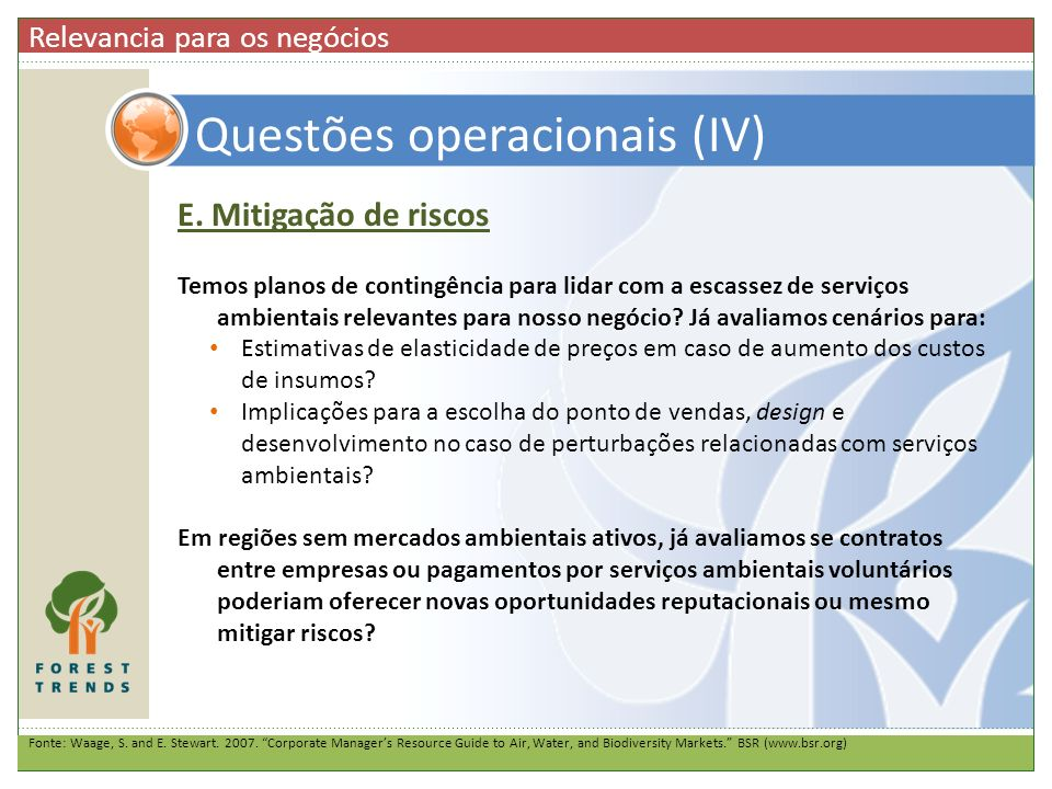 Questões operacionais (IV)