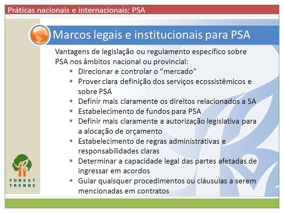 Marcos legais e institucionais para PSA