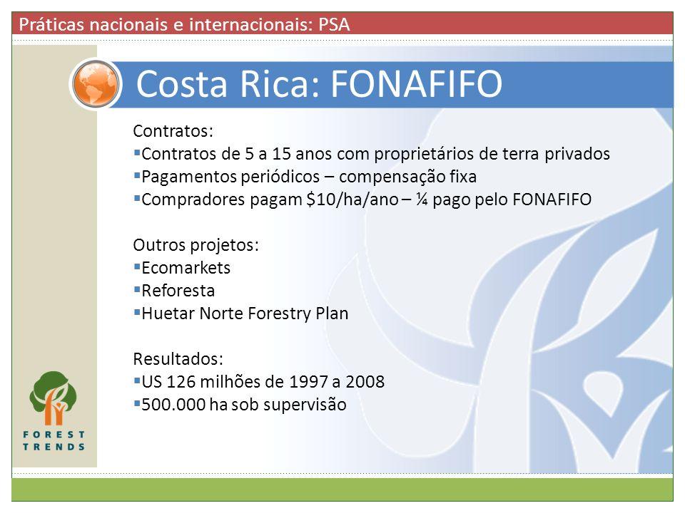 Costa Rica: FONAFIFO Práticas nacionais e internacionais: PSA