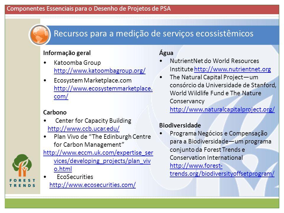 Recursos para a medição de serviços ecossistêmicos