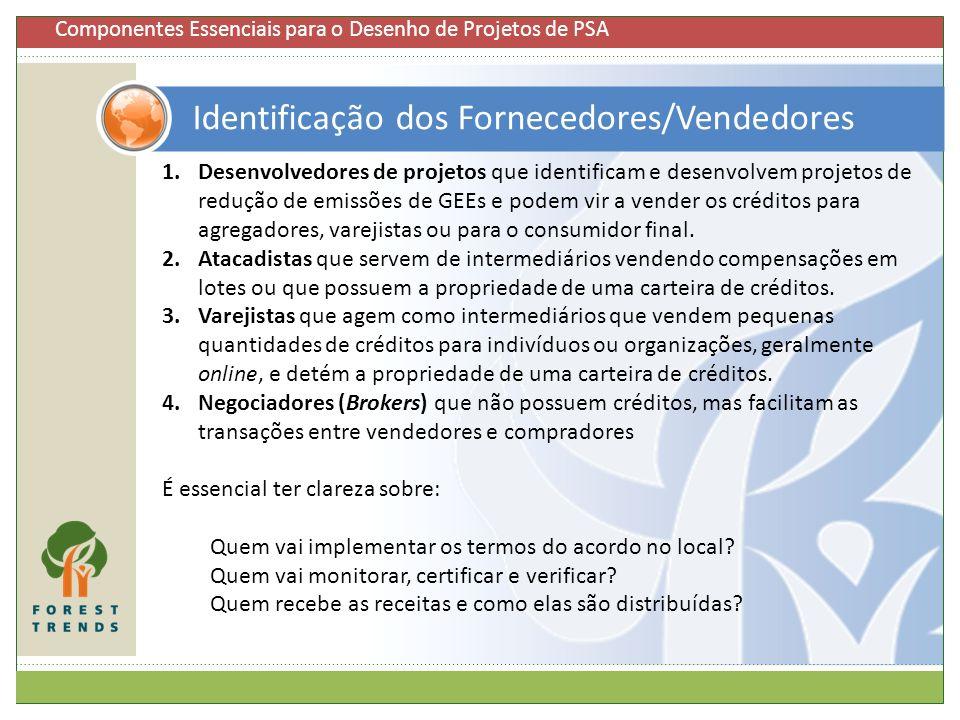 Identificação dos Fornecedores/Vendedores