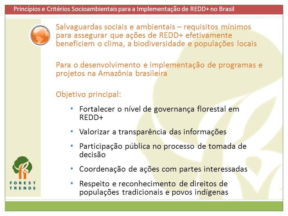 Fortalecer o nível de governança florestal em REDD+
