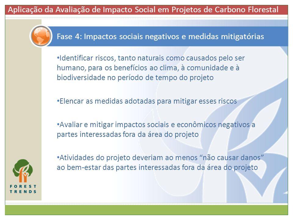 Fase 4: Impactos sociais negativos e medidas mitigatórias