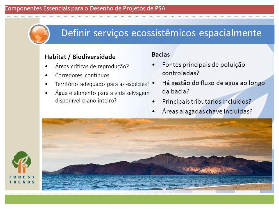 Definir serviços ecossistêmicos espacialmente