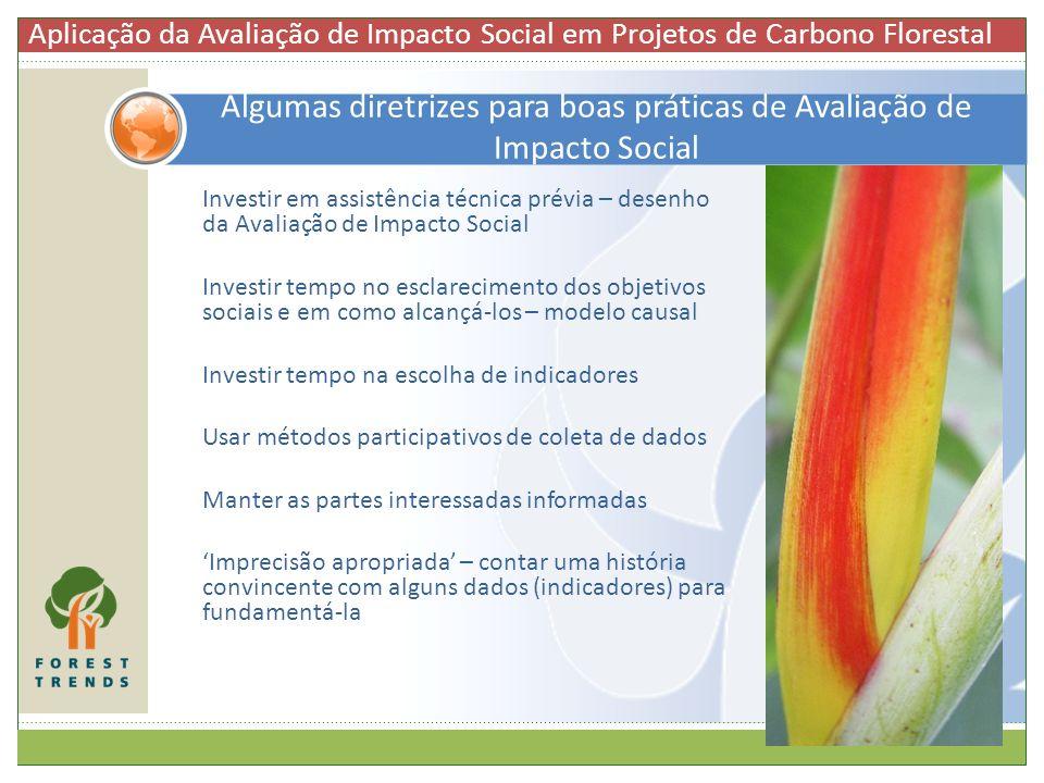 Algumas diretrizes para boas práticas de Avaliação de Impacto Social