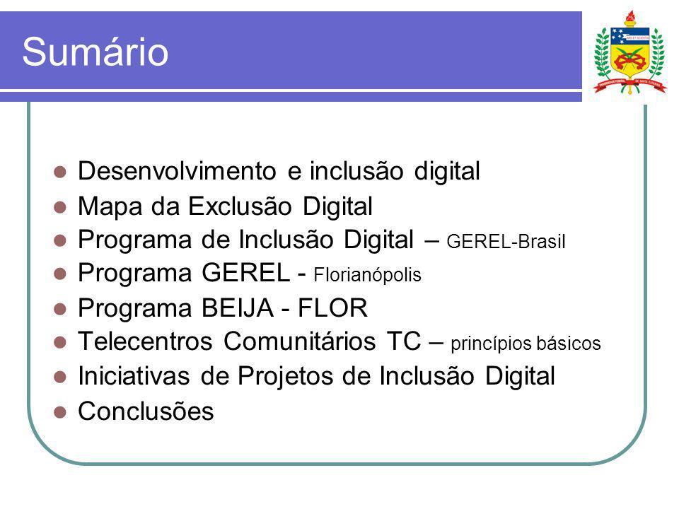 Sumário Desenvolvimento e inclusão digital Mapa da Exclusão Digital