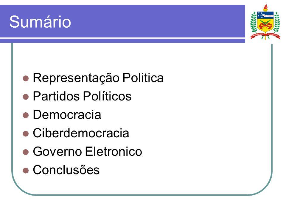 Sumário Representação Politica Partidos Políticos Democracia