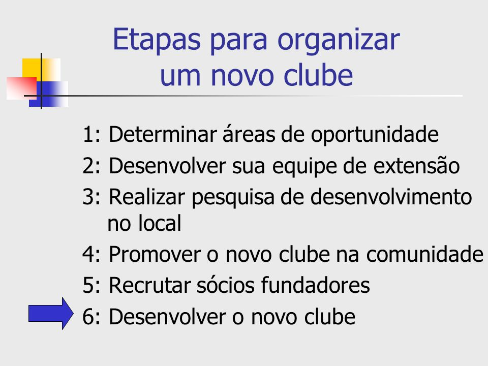 Etapas para organizar um novo clube