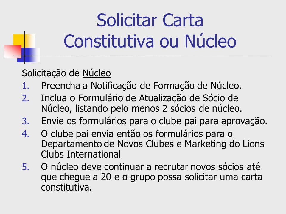 Solicitar Carta Constitutiva ou Núcleo