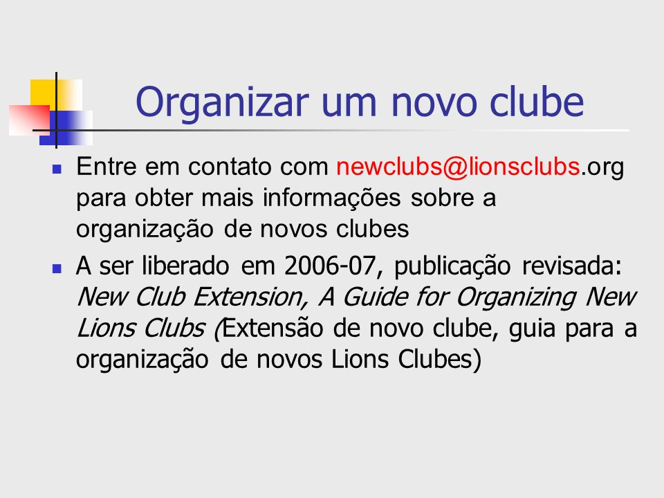 Organizar um novo clube