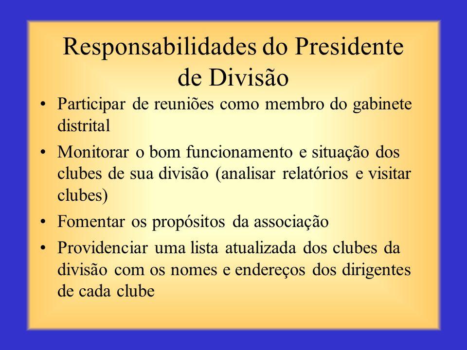 Responsabilidades do Presidente de Divisão