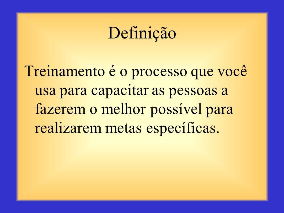 Definição Treinamento é o processo que você usa para capacitar as pessoas a fazerem o melhor possível para realizarem metas específicas.